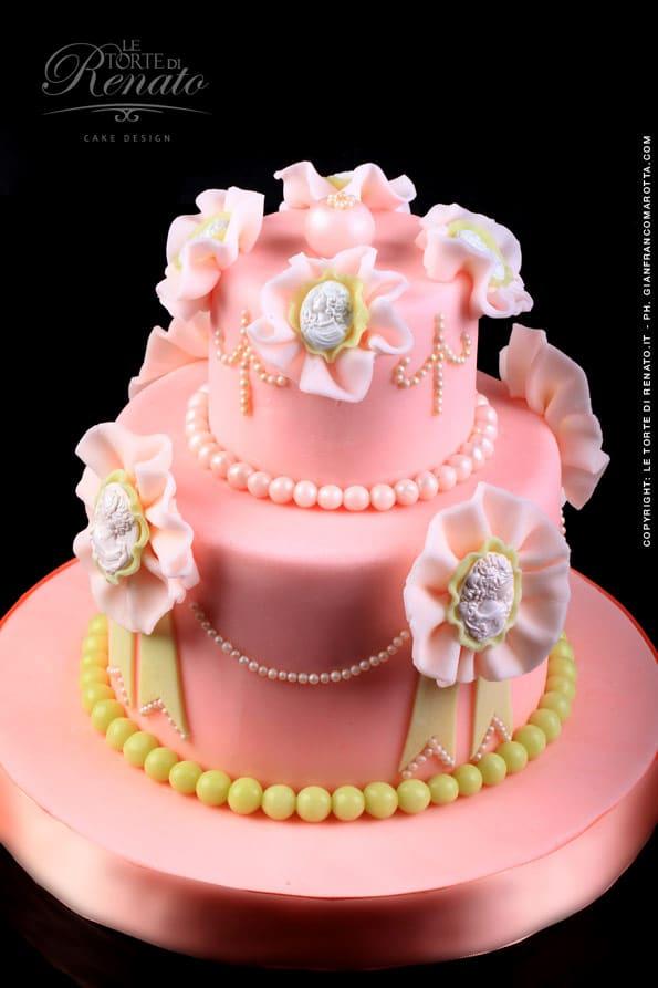 pink flower wedding cake